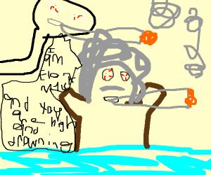 Einstein sinking into a River