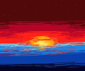 beautiful sunset (explosion)