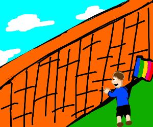 Gay man looking at a wall