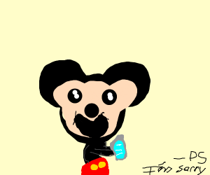 Mickey Mouse plays games on his laptop