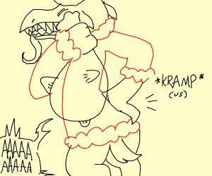 Krampus experiencing kramps