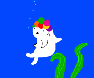 White fish with a rainbow wig