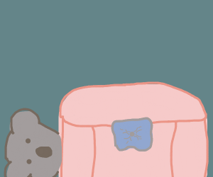 Koala hiding behind pink sofa
