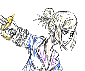 An anime girl with a sword
