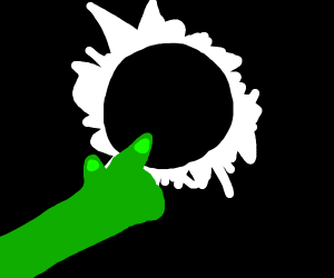 Zombie arm points toward solar eclipse