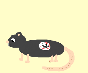 A rat with a sicko mode sticker on its back