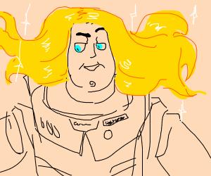 Buzz Lightyear with sparkling blonde hair
