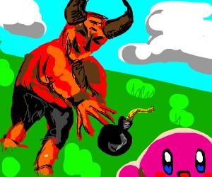 Satan throws a bomb at Kirby?