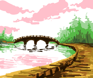 a river leading to a bridge