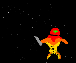 Metroid floating in space