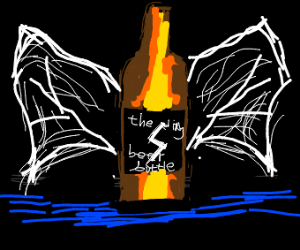 beer bottle with wings