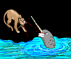 mountain lion Vs. narwhal. both w/ laser eyes