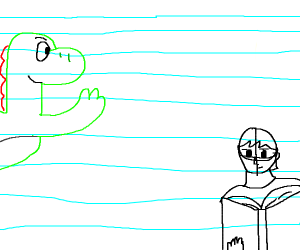 yoshi waves towards child with book.