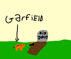 garfield leaves lasanga at johns grave
