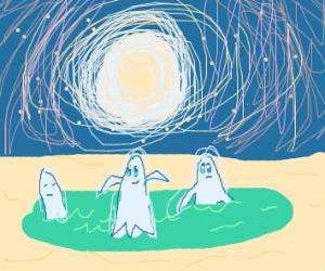 Ghosts swimming in lake at night