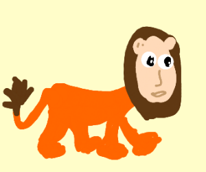 lion cat but it kinda looks like a human?!?
