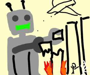 Robot destroys Buildings