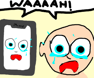Baby cries with smartphone