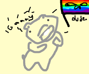 hippo telling the gay flag that it's gay