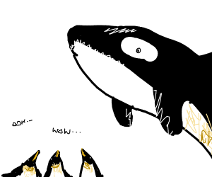 orca jumps over penguin crowd