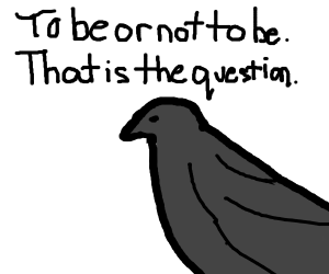 Nevermore Raven quotes Shakespeare's Hamlet