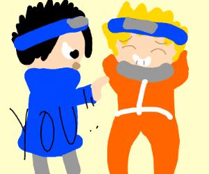 """Sasuke saying """"you"""" to Naruto"""