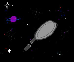 draws saucepan w/ broken handle in space