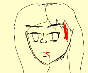 BLOOD COMING OUT OF AN ANIME GIRL?