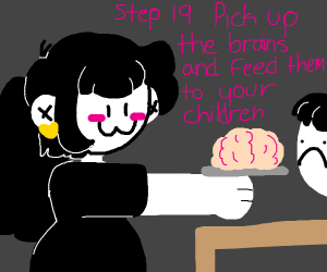 step 18: throw brains