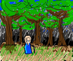 Old Man In The Woods At Midnight