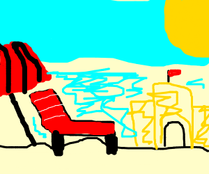 SandCastle Lawn Chair & Umbrella at the Beach