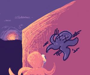 Octopus depressed by graffiti