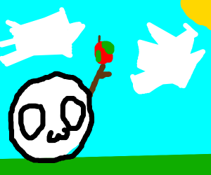 An owo face with a rotten apple on a stick
