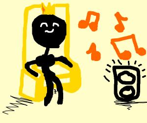Black king likes music