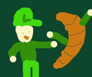 Luigi fighting a biscuit
