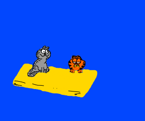 Garfield and Nermal chilling in a pool