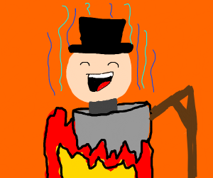 Smug man in a hat being cooked over a fire