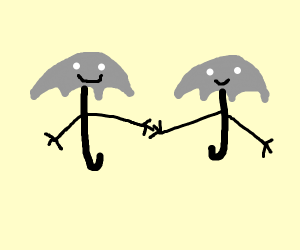 Umbrellas being friends