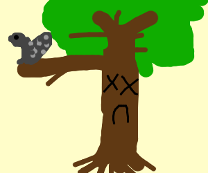 Squirrel lives in a dead tree.