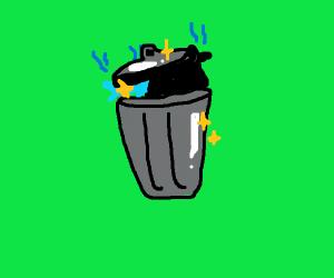 a glowing litter bin