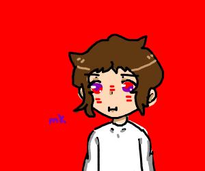 Anime man with glowing red +purple eye