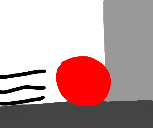 Red ball going through wall