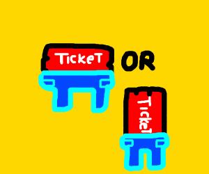 Ticket wearing Pants