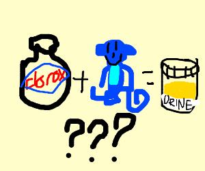 bleach + blue monkey = urine sample