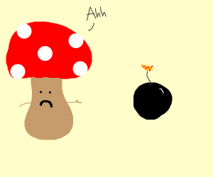 Toadstool finds a lit bomb