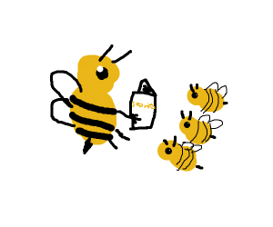 Mom bee reading stories to baby bees