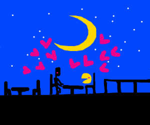 pac man is in love with a human
