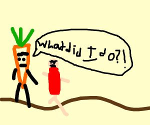 someone being really angry at a carrot