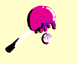 A lollipop with humans inside
