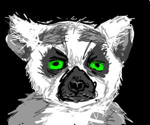 Lemur with bright green eyes